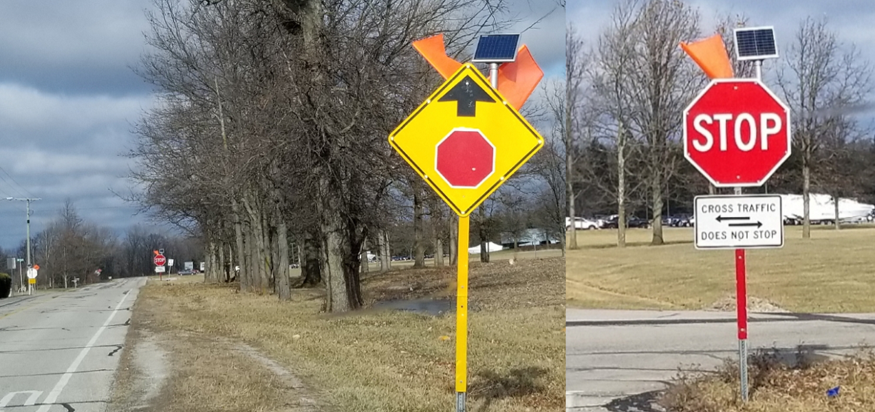 New traffic signage at West Monroe/CR 550 and 28th streets